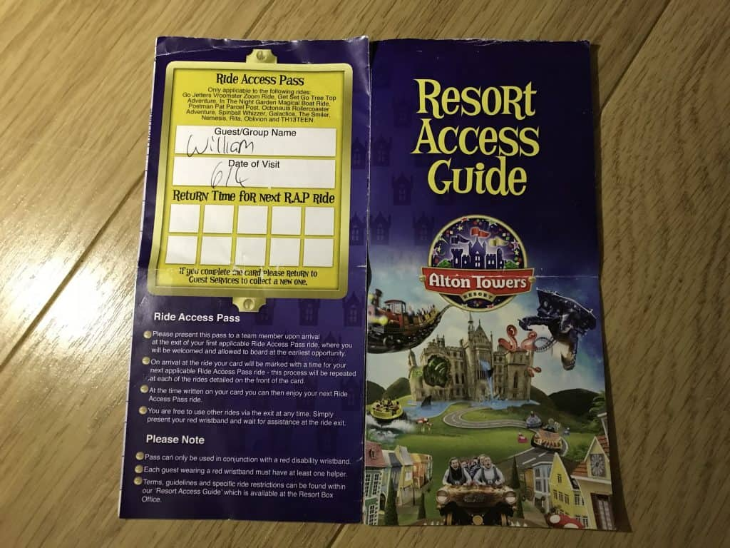 Alton Towers Disability Ride Access Pass